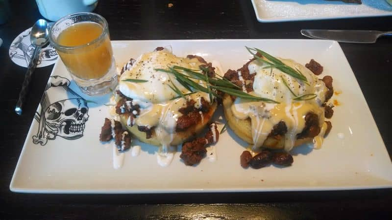 Guy Fieris Dragons Breath Chili Cornbread Benedict