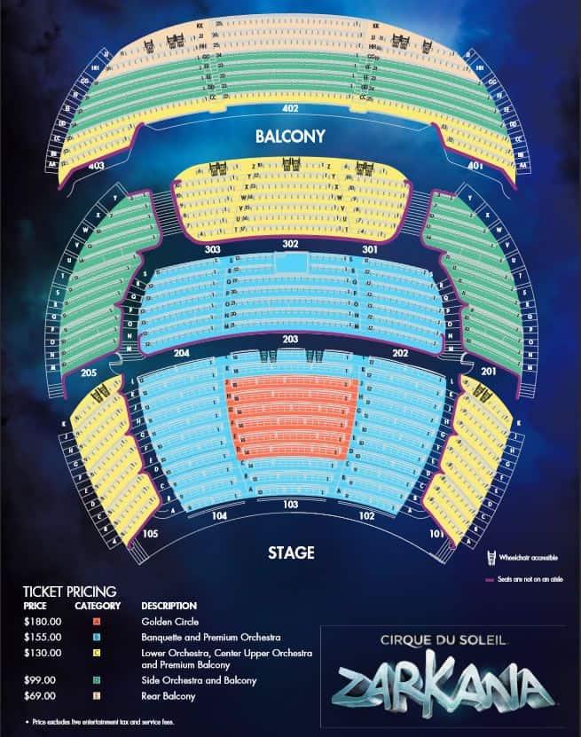 Zarkana Seating Map