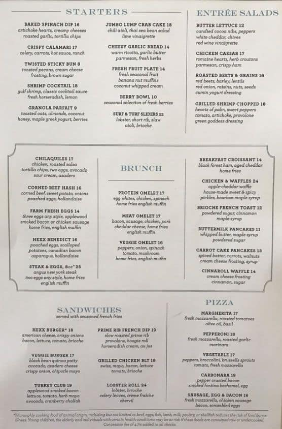 Hexx Brunch Menu with Prices