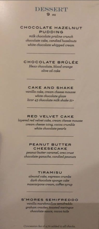 Hexx Las Vegas Dessert Menu with Prices