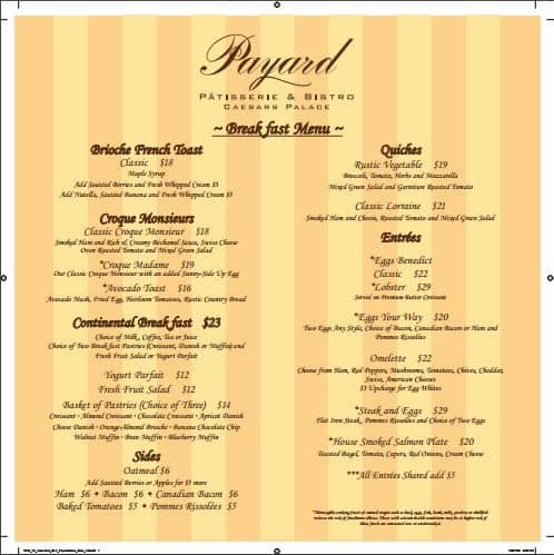 Payard Patisserie Breakfast Lunch Menu