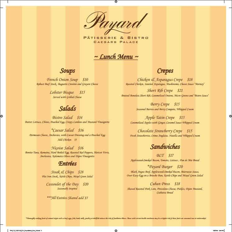 Payard Patisserie Lunch Menu