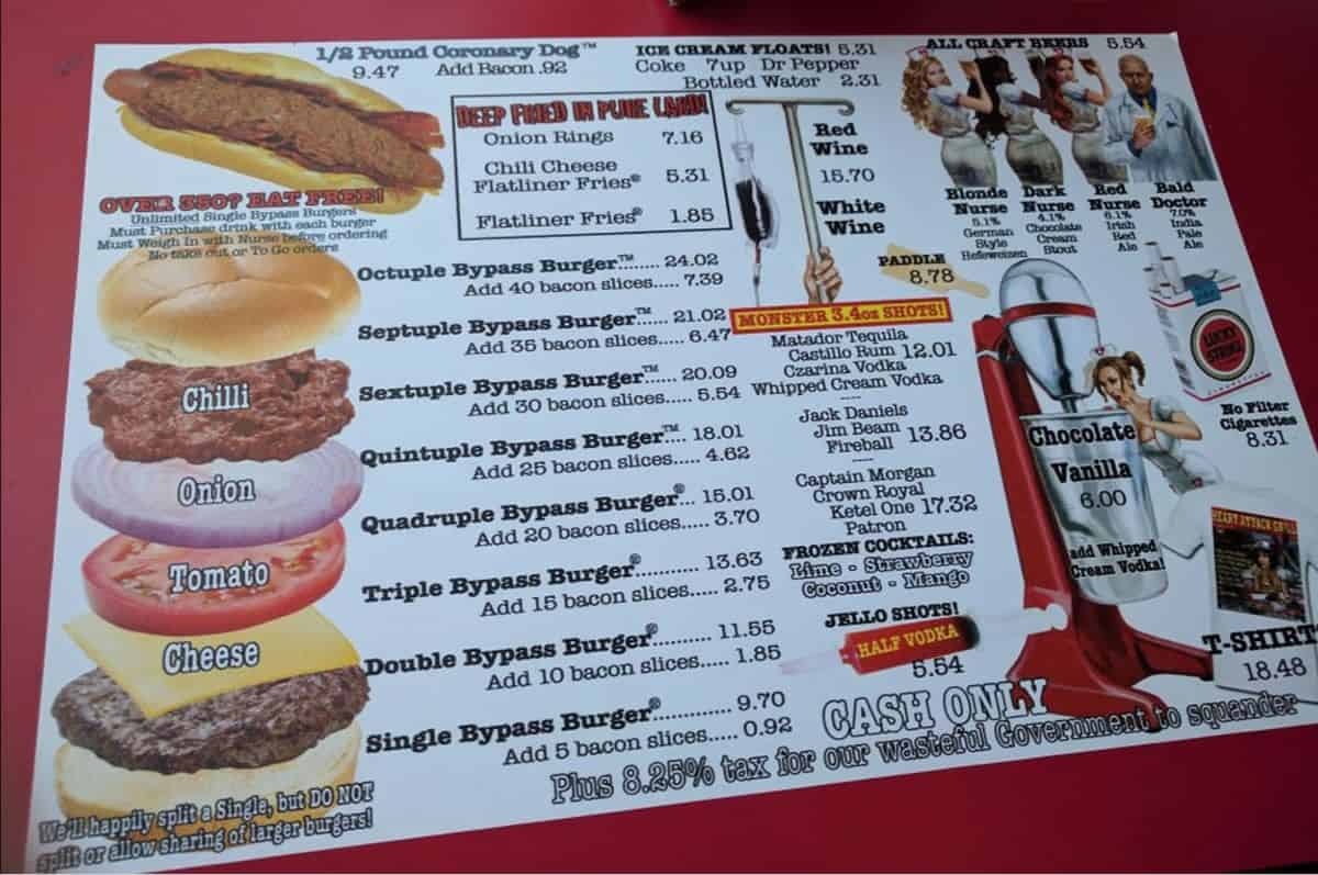 Heart Attack Grill Las Vegas menu