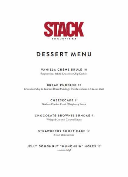 Stack Dessert Menu