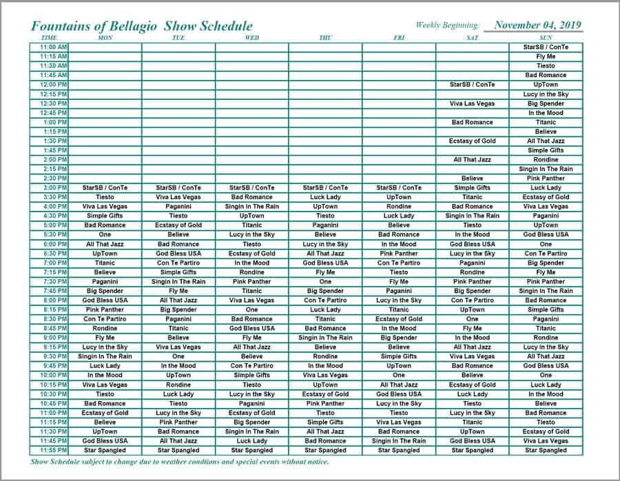 Bellagio Fountain Schedule