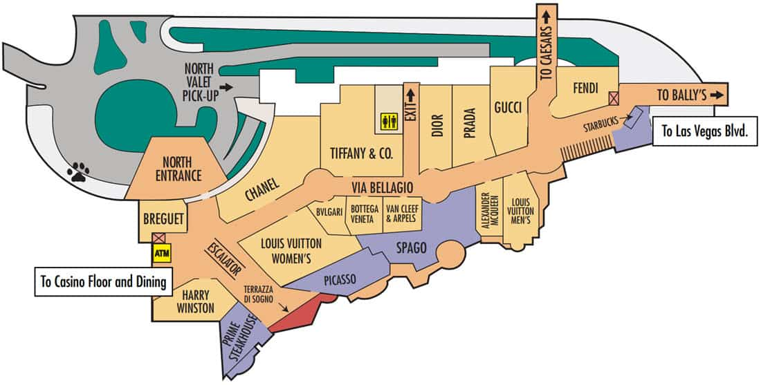Bellagio Hotel Map North Valet and Shops