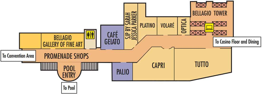 Bellagio Hotel Map Towers & Promenade Shops