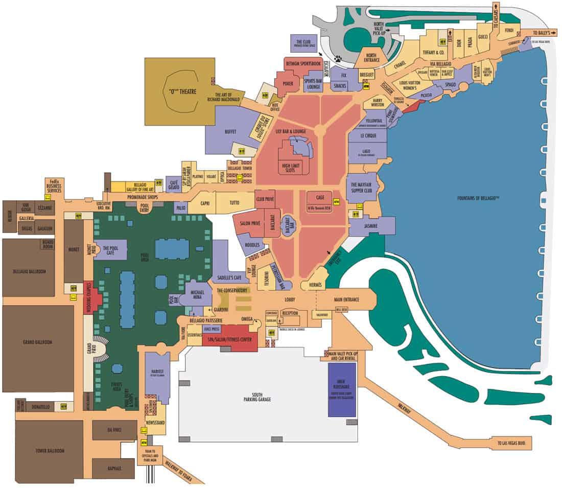 Bellagio Hotel Map