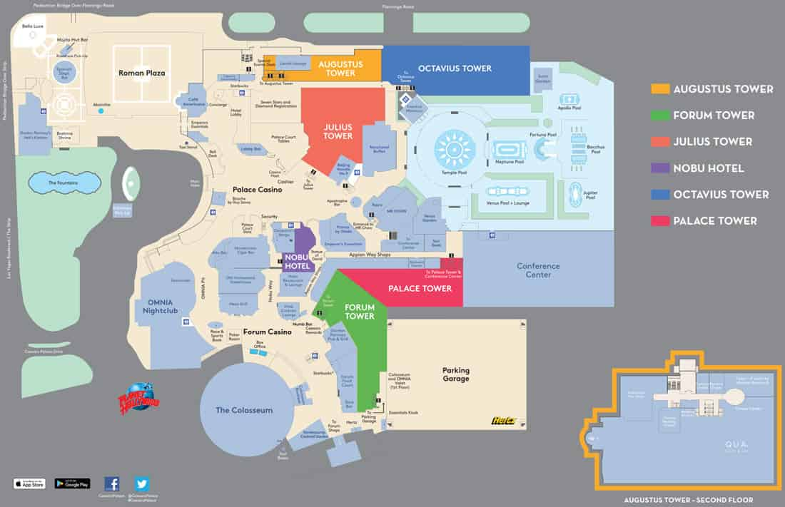 Caesars Palace Hotel Map In 2021