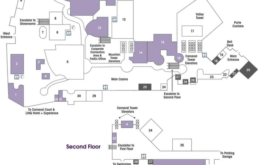 Harrahs Hotel Map