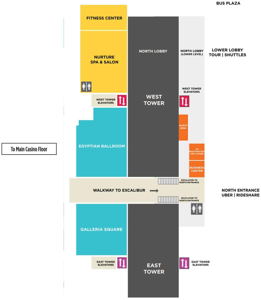 Luxor Hotel Map Ballrooms & Convention Area