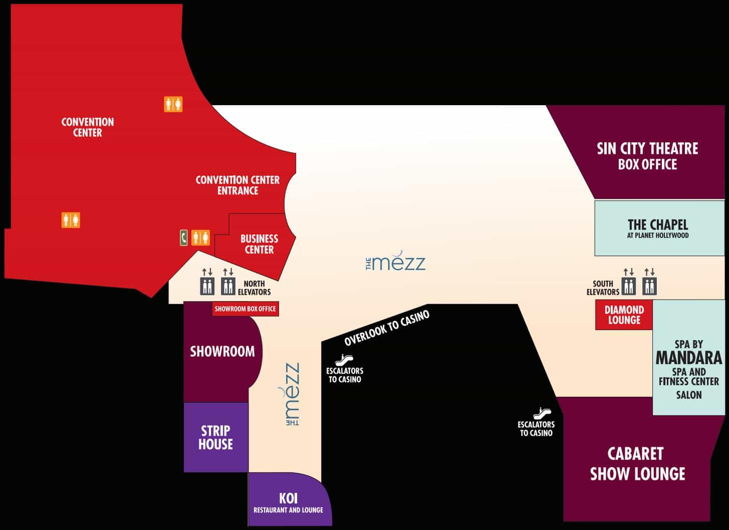 Planet Hollywood Hotel Map Mezanine Level