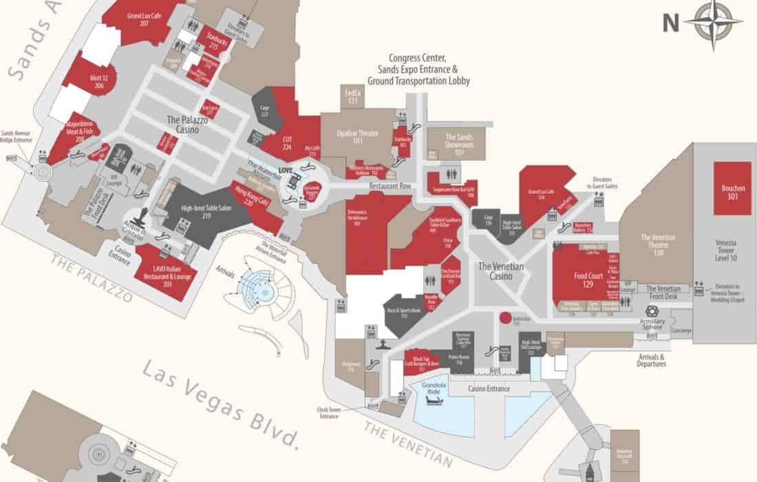 Venetian hotel map level 1