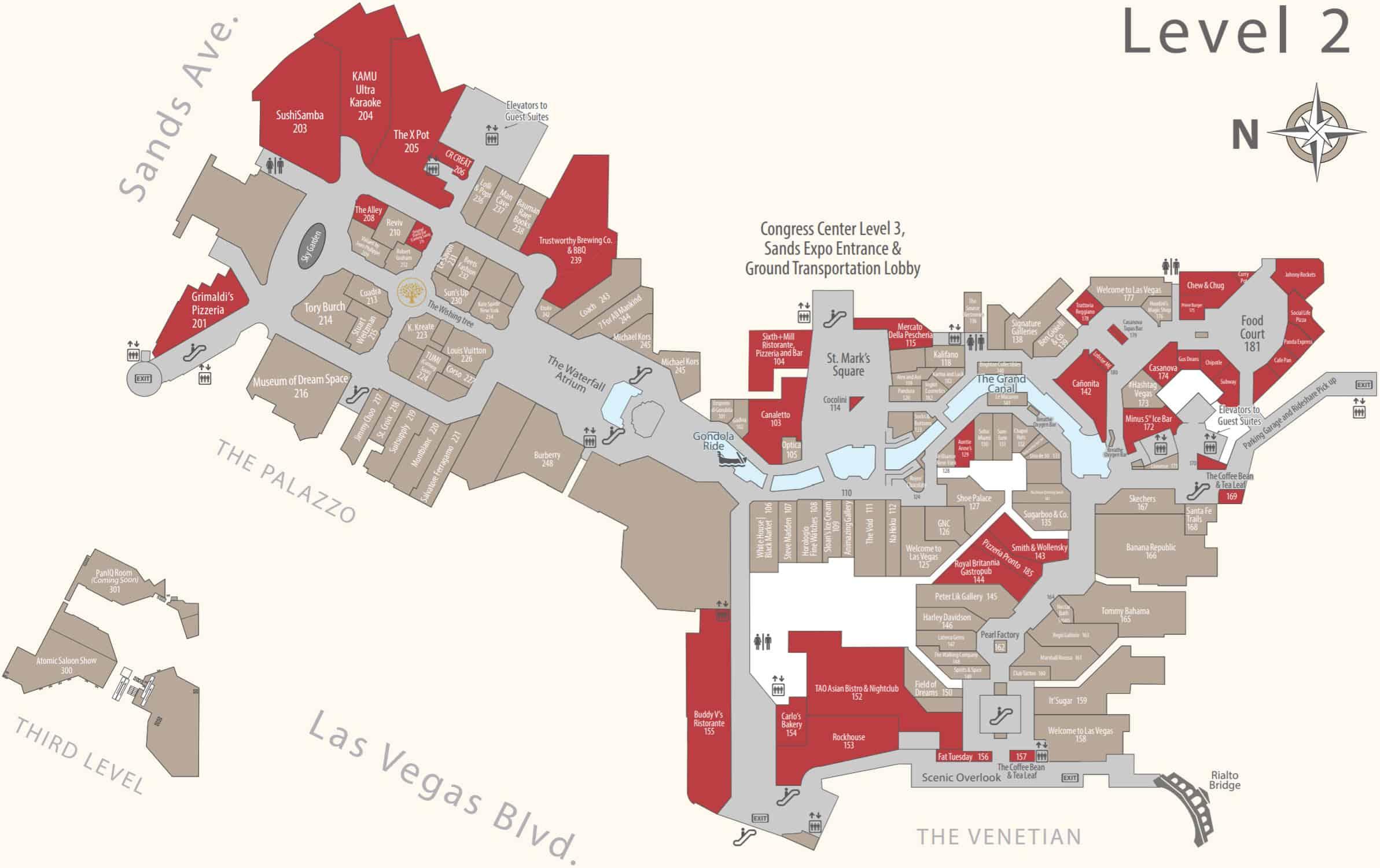 Venetian hotel map level 2