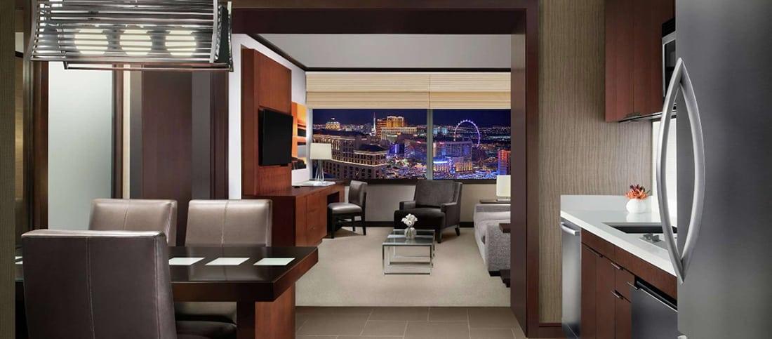 vdara hotel vdara suite living kitchen