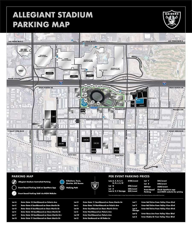 Parking Map ofAllegiant stadium